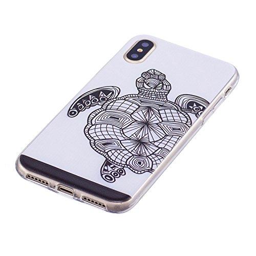 Cover iPhone X, Custodia iPhone 10, CaseLover Custodia per iPhone X / 10 Morbida Trasparente Silicone TPU Protezione Corpeture Ultra Sottile Flessibile Liscio Gomma Gel Antiurto Protettiva Caso Anti S Tartaruga