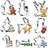 Joyoldelf Keks Ausstechform, 9pcs Weihnachten Ausstechformen Biskuitform von Schneeflocken, Weihnachtsbaum, Rentiere, Gingerbread-Mann, Schneemann, Engel, Zuckerstange, Socken, Süßigkeiten für Kinder