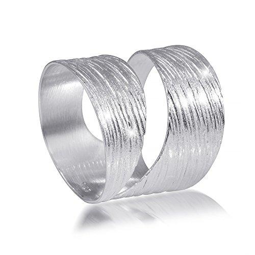 MATERIA 925 Sterling Silber Wickel Ring - Silber Band Ring breit mattiert inkl. Schmuckbox #SR-73, Ringgrößen:60 (19.1 mm - Breites Silber Band-ringe