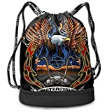 OJFPWSS Fashion Multifunctiona Coulisse Sport Zaino Pieghevole sackpack-Harley Davidson Bald Eagle