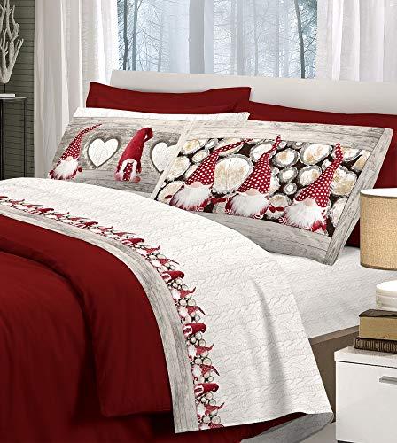Completo letto gnomi con stampa fotografica 100% cotone singolo matrimoniale 3 colori made in italy - rosso - matrimoniale