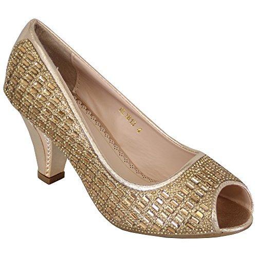 Sandal House Femmes Bout Ouvert Femmes Sandales Talon Moyen Diamant Demoiselle D'Honneur Mariage A Enfiler Neuf