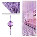 Fransenvorhang mit Quaste, dekorative Türschnur-Perlen-Trennwand von ZAIQUN, Polyester, violett, 1m x 2m