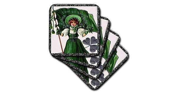 Irish Lady and Flag Vintage-Soft Coasters Set of 4 3dRose cst/_42902/_1 Erin Go Braugh