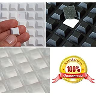Large 3M RUBBER FEET Bumpons ~ 13mm x 13mm x 6mm Height ~ BLACK, CLEAR or WHITE ~ Square Trapezoid Furniture Electronics Protectors Stoppers (Black, 100 Individual Bumpons)