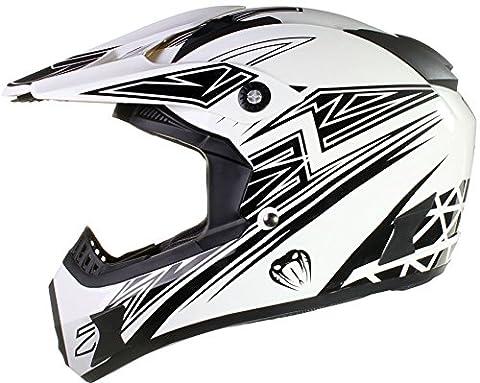 Qtech - Casque Viper de moto/enduro/MX tout-terrain - noir, rouge, orange et bleu - Noir - L (59-60 cm)