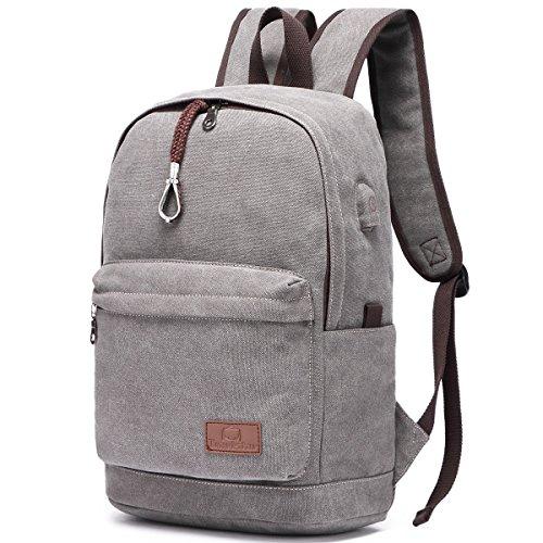 Hozee Canvas Laptop Rucksack Schulrucksack mit USB Ladeport,15.6 Zoll jugendlich Schultertasche Teenager Backpack Daypack für Schule Studenten Mädchen Damen Reise Ausflug