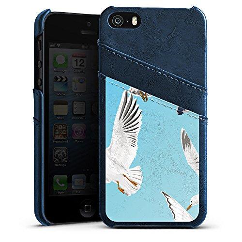 Apple iPhone 5s Housse Étui Protection Coque Oiseau Möve Oiseaux Étui en cuir bleu marine