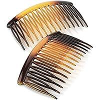 Two Piece Tortoise Shell Colour 8 cm Hair Slide Comb Set