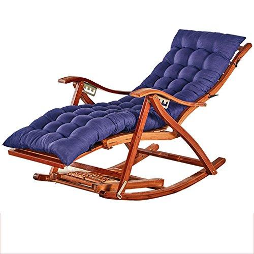 Fauteuil Inclinable En Bambou Chaise Longue Pliante En Bambou Naturel Design Ergonomique 170 ° Coussins Réglables En Édition Prolongée Bleu Marine