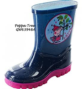 Gorgeous Peppa Pig Tree Welly Boots ~ For Boys & Girls ~ Night Blue/Pink (8)