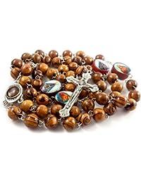 Rosario de madera de olivo collar devotos bañado en plata cruz con suelo y Saints