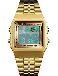 FeiWen Unisex Digitales Relojes de Pulsera Outdoor Militar LED Electrónica Deportivo Reloj Multifuncional Alarma 12H/