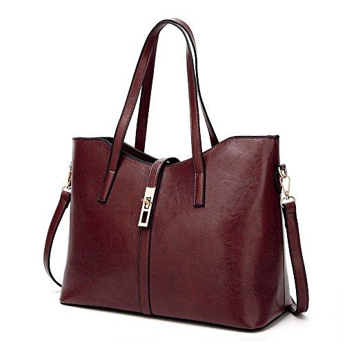 AFCITY Frauen Top Handle Satchel Geldbörse und Handtaschen Tägliche Arbeit Schulter Tote Bag (Farbe : Messing) (Messing Satchel)