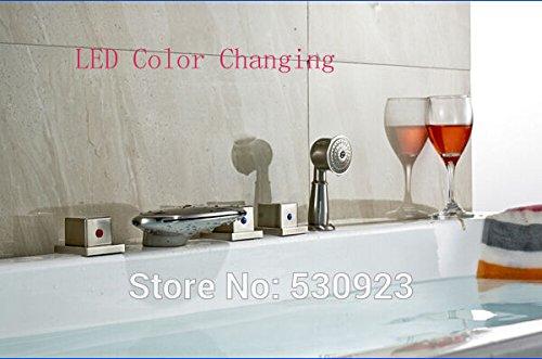 Maifeini  Neu Modern Creative Badezimmer Badewanne Wasserhahn Mit Led-Licht Duscharmatur Mischbatterie Nickel Gebürstet 5 Stück Deck Montiert -