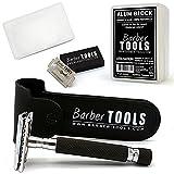 ✮ Barber Tools ✮ Rasierhobel + 5 Rasierklingen + Alaunstein 100gr 100% natürlich mit Aufbewahrungsbox