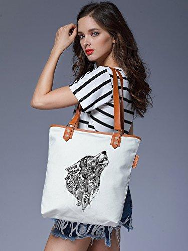 CHU Handbag Leather Womens Animal S Wolf Tote Weiß Ladies Bag Shoulder Canvas TpAwR