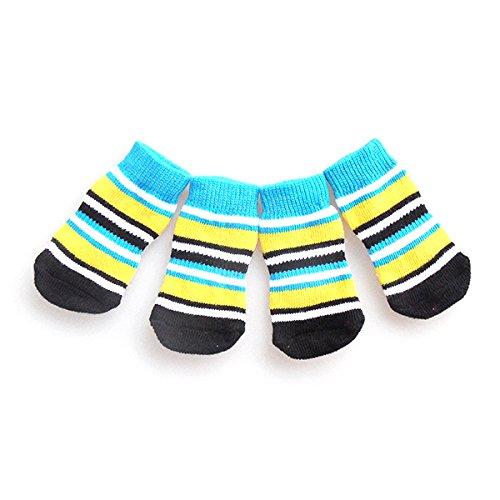 Toogoo Unisex Cotton Weave Anti-Slip Knit Pet Dog Puppy Cat Socks (Large, Blue) -4 Pieces