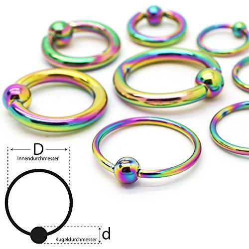 Soul-cats® Piercing Piercing anello di bloccaggio Anello Captive Bead sfera Anello acciaio chirurgico, Colore: arcobaleno, formato della sfera: 4 mm Ø: 10 mm; spessore: 2,0 millimetri