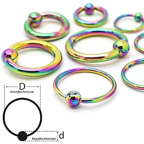 Soul-cats® Piercing bola anillo de sujeción del anillo del grano Cautivo de acero quirúrgico, Color: arco iris, tamaño de la bola: 3 mm Ø: 12 mm; espesor: 1.2 mm