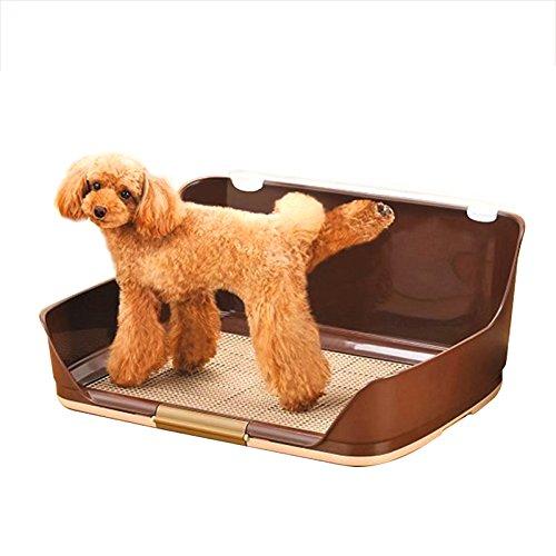 ZALIANG Chongwucesuo Vallado Alto para Inodoro Perro semicerrado para Mascotas Perro Perro Orinal Perro Orinal Madre Olla Lavable (Color : Brown, Tamaño : S)