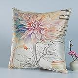DW HCKK Silk Kissen Chinesische Vogel und Blume-Kissen Mahagoni Sofakissen Bett Kissen Büro-Kissen-E 45x45cm(18x18inch) VersionB