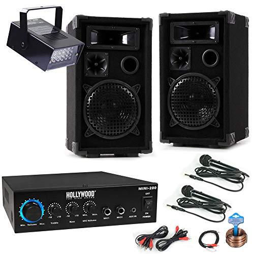 etc-shop PA Party Kompakt Musik Anlage Boxen Bluetooth MP3 Verstärker Mikrofone Disco Strobe DJ-Mini 3