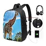 Zaino Antifurto Con Porta USB, Giraffa Arbusto Zaino per PC Computer Portatile 17 Pollici, Zaino per Laptop Da Uomo Donna per Scuola, Business, Viaggio