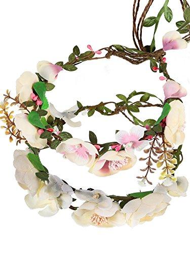 2 Stücke Mehrfarbig Einstellbare Braut Blume Garland Stirnband Blume Krone Haar Kranz für Hochzeit Festival Party (Haar-accessoires Seidenblumen)