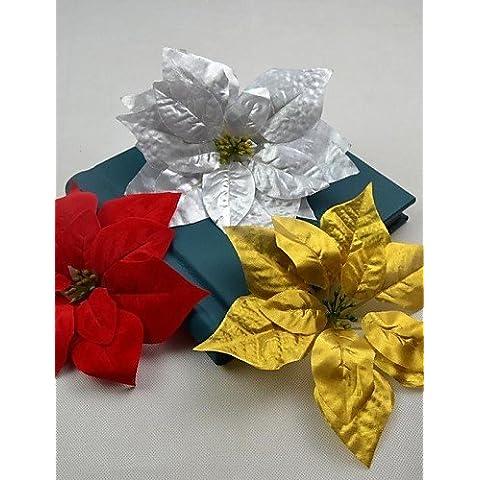 Hogar/bodas/partes/decoración de flores artificiales, oro plata rojo flor de Pascua Artificial cabeza 10piezas/lot para la decoración de Chiristmas