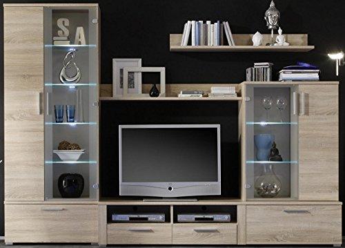 6-6-5-930: schöne Wohnwand - TV-Wand - Eiche sonoma dekor - Wohnzimmerschrank - Vitrinenschrank - mit LED-Beleuchtung
