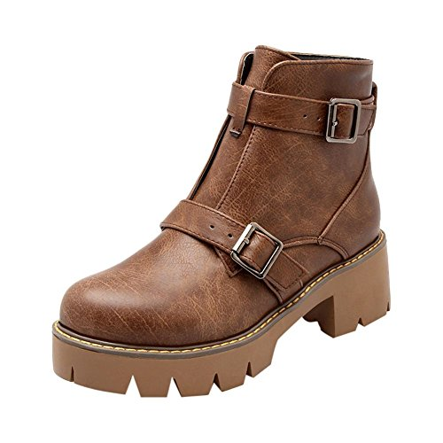 Mee Shoes Damen runde chunky heels Plateau Ankle Boots Braun