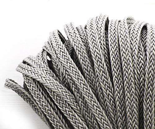 2yrd 1,8 m Grau Baumwolle Leinen Stoff Ribbon Flat Schnur Makramee Boho-Stil Armband Halskette Nähen Dekorative Schmuck 9mm - Makramee-stoff