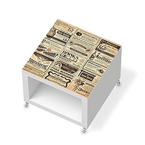 Möbelaufkleber für IKEA Lack Beistelltisch mit Rollen | Möbelfolie Bedruckte Klebe-Folie Möbel verschönern | Schöner Wohnen Wohnzimmer-Möbel Wohn Deko Ideen | Design Motiv Vintage Newspaper