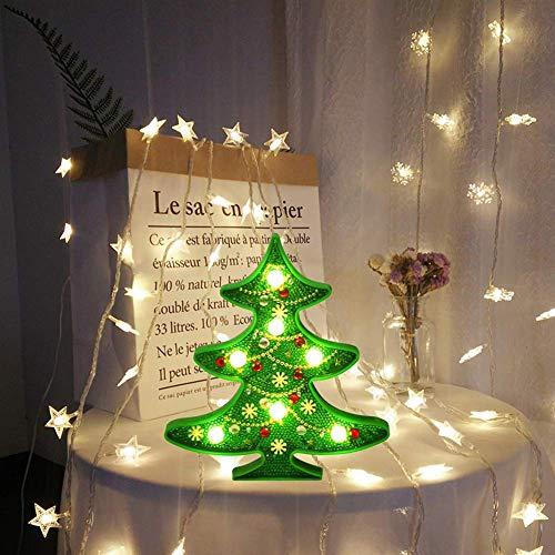 TUOGONGBAO Malkasten Diamant mit Led-Nachtlicht Weihnachten 5D DIY dekorativer Malerei vollen Bohrgerät-Kristallrhinestone-Nachttischlampe Kunst-Fertigkeit für Weihnachtsbaum-Haus-Wand-Dekor