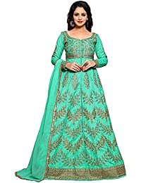 4Fashion Empire Women's Poly Silk Embroidered Sky Blue Anarkali New Latest Semi Stitched Salwar Suit (4Fashion_ER10464)