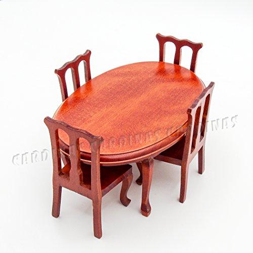 Odoria 1/12 Miniatur Möbel Oval Weinrot Esstisch mit 4 Stühlen Set Holz Für Puppenhaus