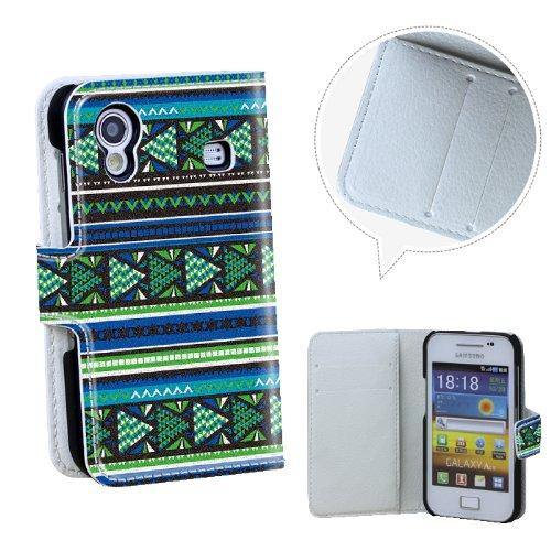 Xtra-Funky Esclusivo Aztechi tribali del cuoio di vibrazione della Custodia con raccoglitore della borsa messicana fantasia Faux Con la carta di credito e denaro Slot per Samsung Galaxy Ace S5830 / S5830i - Progettazione A10