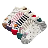 iShine 5 Paar Socken Gewirke von Baumwoll Socken mit Zeichnung von Kleinen Katzen Cartoon Farben klar(Lila Blau Braun Grün Rot)