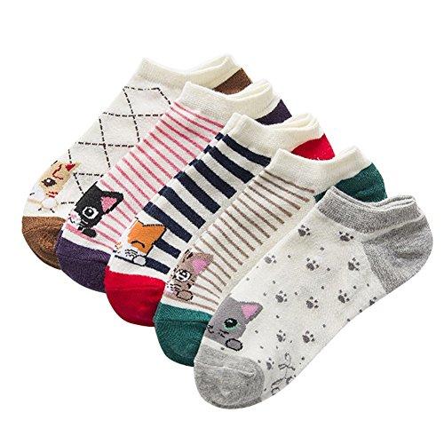 iShine 5 Paar Socken Gewirke von Baumwoll Socken mit Zeichnung von Kleinen Katzen Cartoon Farben klar(Lila Blau Braun Grün Rot) (Keine Rippen-socken Frauen)