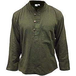 Shopoholic Fashion - Camisa sin cuello estilo hippy / boho, ligera, color verde liso verde verde XX-Large