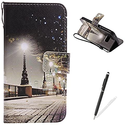 Samsung Galaxy S7 Case,Feeltech Elegant Premium Flip PU Leather Wallet Cover with Magnetic Closure Stand Function Protective [Free 2 in 1 Stylus] Credit Card Slots Holder and Money Pouch Vintage Retro Cartoon Pattern Design Flip Book Style Cover Case With Hand Strap for Samsung Galaxy S7 - London Street