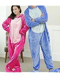 CWJ Unisex Pijamas para Adultos - Peluche de una Pieza Cosplay Animal Traje Invierno Espesamiento Ocio,Rosado,M
