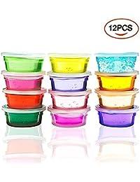 12PCS Niños Slime Toys Niños Educativos Fluffy Floam Slime Perfumado El alivio del estrés No Borax Juguetes de los niños Paquete de 12 colores