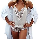 YunYoud Damen Ärmellos V-Ausschnitt Unterwäsche Erotisch Spitze Nachtwäsche Einfarbig Lingeries Halfter Bandage Clubwear Stitching Overall (S, Weiß)