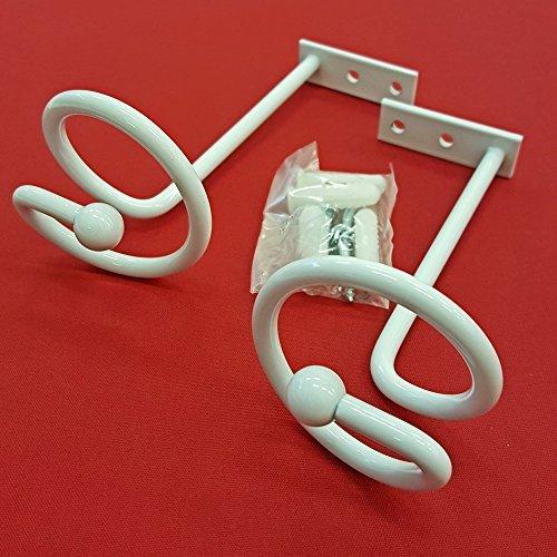 Easy-Shadow - 2 Stück Hochwertige Drapierhaken weiß für Gardinen / Gardinenschals / Querbehänge / Vorhänge - Haken aus Metall zur Dekoration von Schals / Stores inkl. Montagematerial - weiß