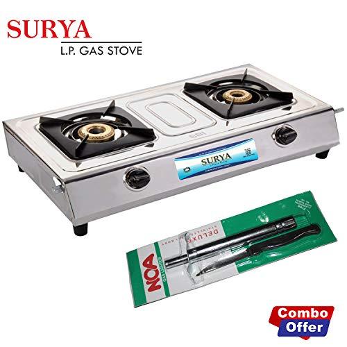 Surya L P G Stainless Steel 2 Burner Cooktop Gas Stove with Noa Stainless Steel Cooktop Gas Lighter