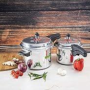Royalford RF8428 5 & 3 Litre Aluminum Pressure Cooker - Comfortable Handle Evenly Heating Cooker | Portabl