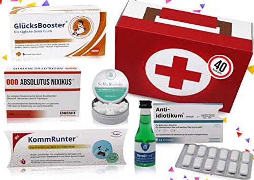 40. Geburtstag | Erste Hilfe Set Geschenk-Box, witziger Sanikasten | 8-teilig | Scherzartikel zum 40. Geburtstag