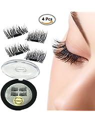 Magnétique Faux-cils, 1 paire (4pcs) Aimant réutilisables Faux Cils False Eyelashes , 3D Fait à la main Magnet Faux Cils Extension, Naturel Réglable Faux Noir Cils - Magnet Eyelashes Ultra mince 0.2 mm